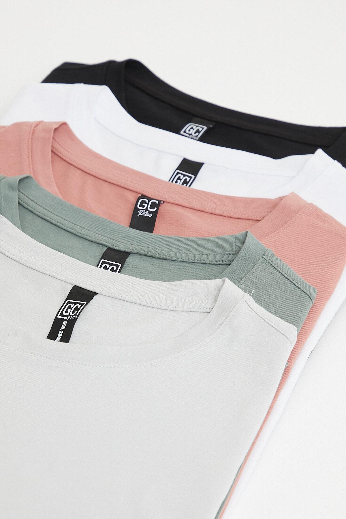 Erkek Çok Renkli Slim Fit Bisiklet Yaka 5-li T-shirt Paketi