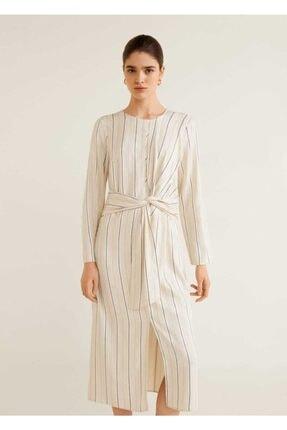 Picture of Kırık Beyaz Önü Düğümlü Elbise