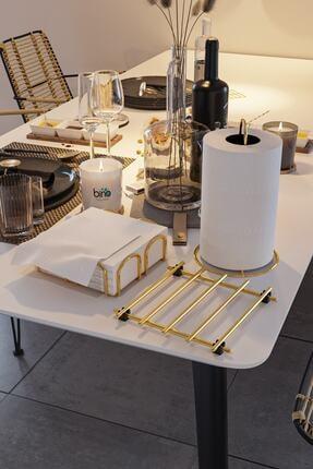 Bino Servis Sunum Seti Havluluk Peçetelik Nihale Gold Altın Dolu Parlak Paslanmaz Çelik 3 Lü Mutfak 1
