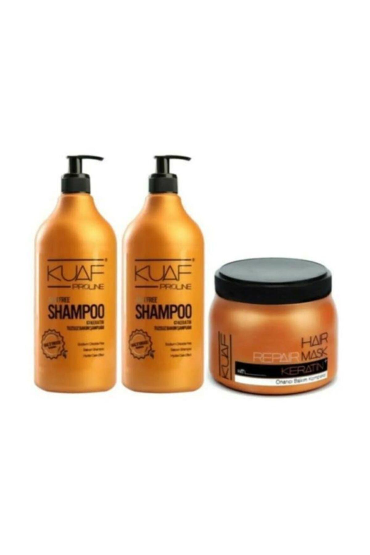 Tuz Içermeyen Tuzsuz Şampuan 1000 ml X 2 Adet + Keratin Maskesi 500 ml