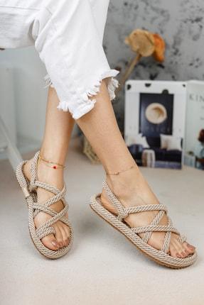 meyra'nın ayakkabıları Halat Sandalet Krem 2