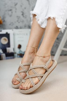 meyra'nın ayakkabıları Halat Sandalet Krem 3