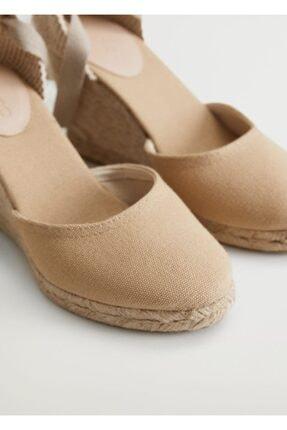 Mango Dolgu Topuklu Çizgili Sandalet 2