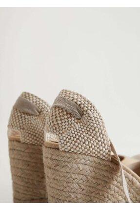 Mango Dolgu Topuklu Çizgili Sandalet 4
