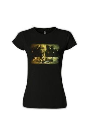 Lord T-Shirt Kadın Siyah Atatürk Tshirt 0