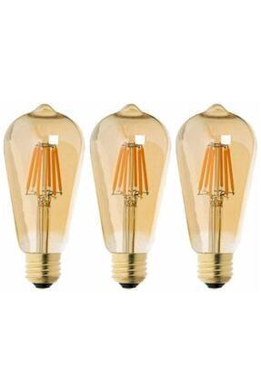 EDİSON Rustik Led Ampul 3lü Eko Paket Amber E27 Duy Armut Tipi St64 Dekoratif Vıntage Aydınlatma 0