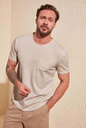 TRENDYOL MAN Taş Erkek Basic Regular Fit T-Shirt TMNSS20TS0973 0