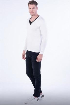 Efor TR 791 Slim Fit Beyaz V Yaka Triko 1