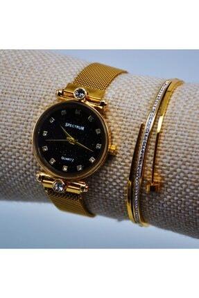 Çelik Taşlı Bileklikli Altın Renk Genç Kız Kadın Kol Saati Su-338 resmi