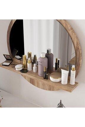 bluecape Yuvarlak Ceviz Raflı 45cm Aynalı Dresuar Koridor Konsol Duvar Salon Mutfak Banyo Ofis Yatak Odası 2