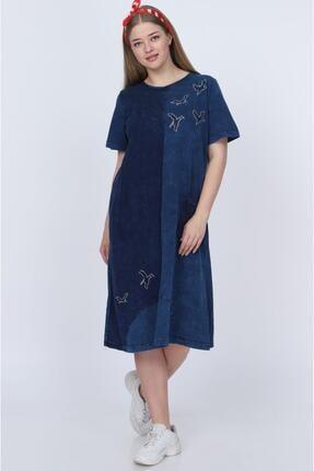 ZEYNEBİN DOLABI Kadın Mavi Yıkamalı Viskon Elbise 2