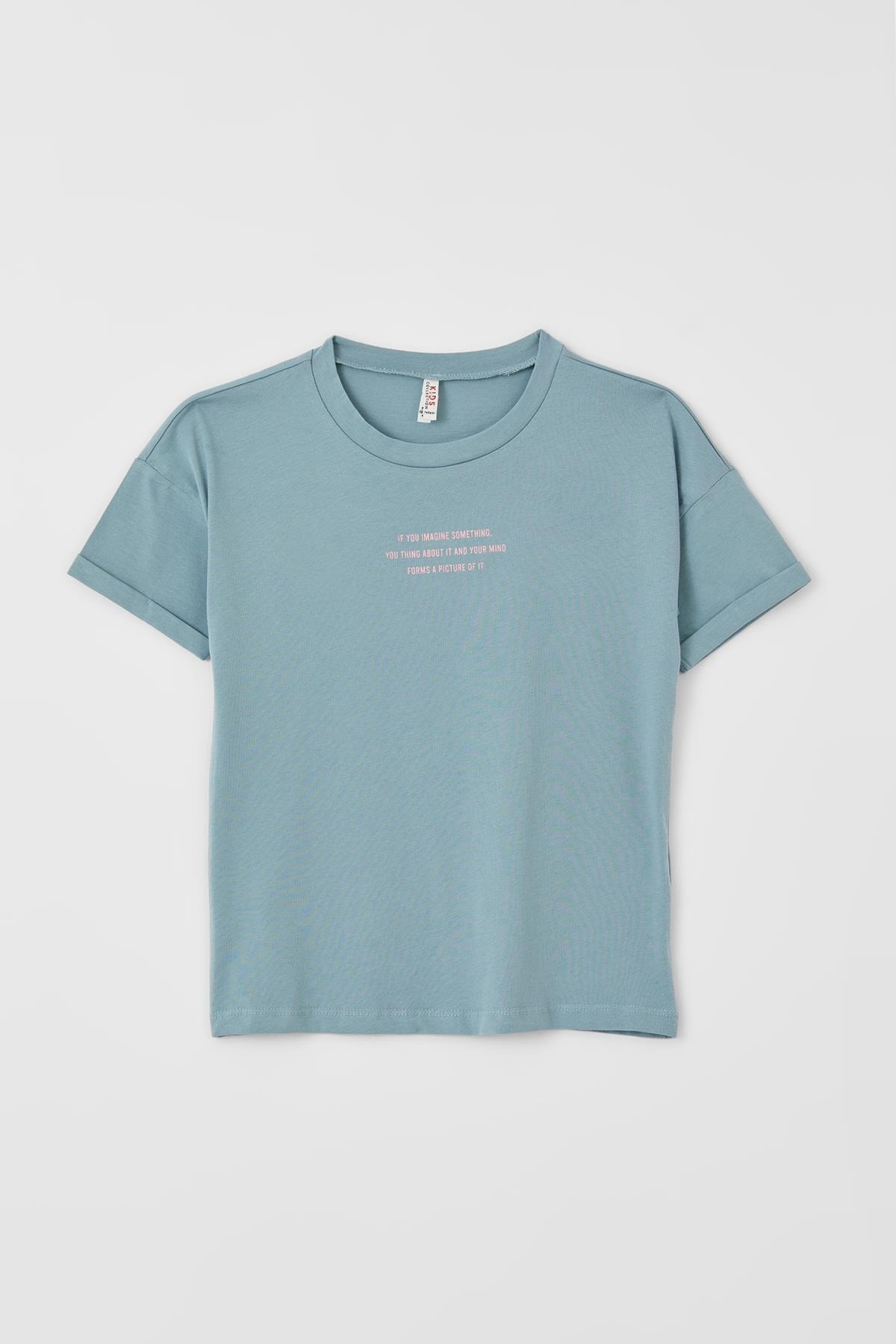 Kız Çocuk Sırt Baskılı Kısa Kollu Tişört