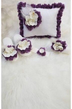 Lohusam Özel Üretim Çiçek Süslemeli Takı Yastıklı Terlik Taç Bebek Saç Bandı Seti 2009 2228137484432009