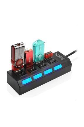 Alfais 4863 4 Port Usb 2.0 Hub Çoğaltıcı Çoklayıcı Switch Işıklı Anahtarlı 1