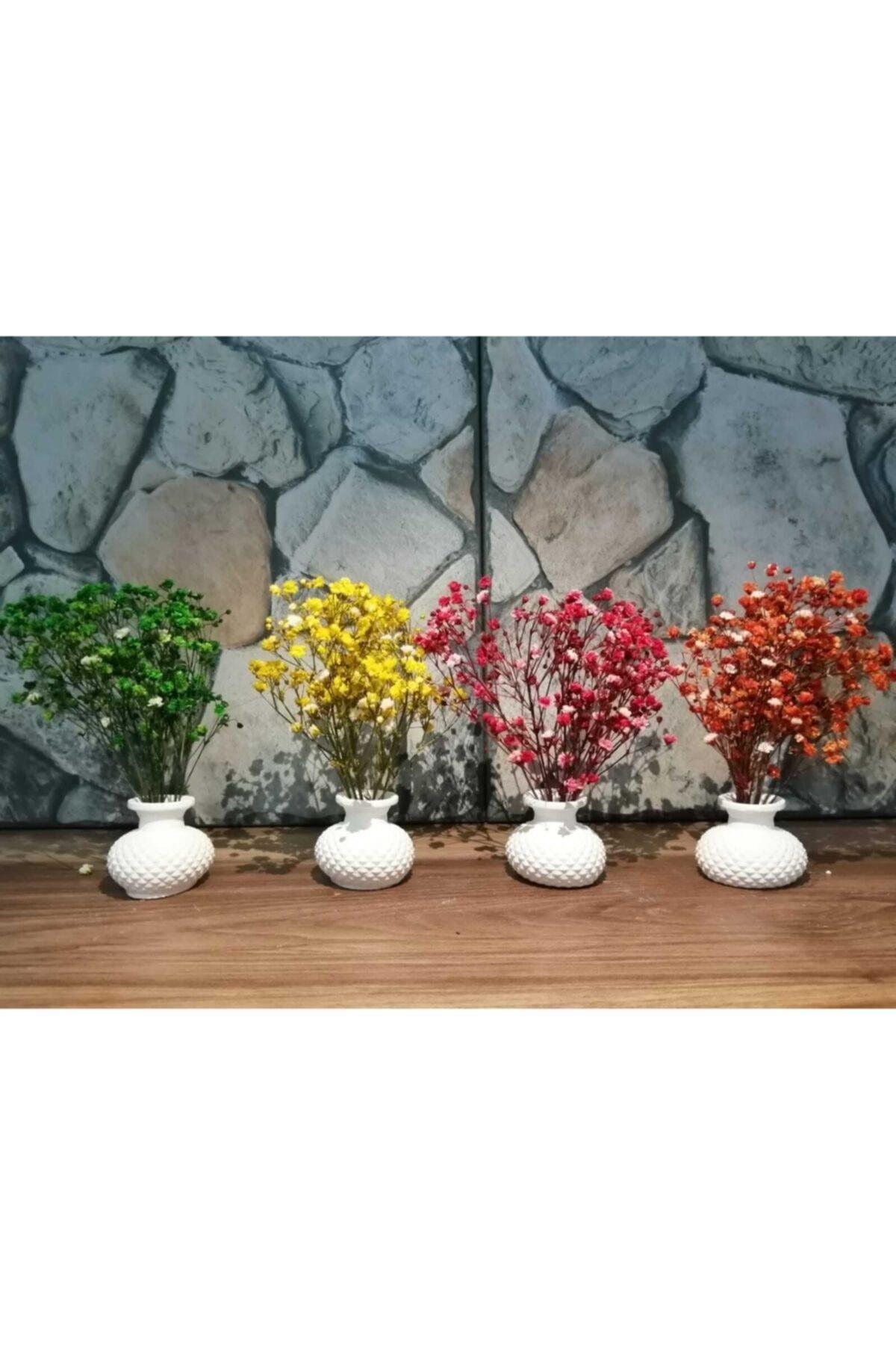 Sunumluk Vazo Takımı 4 Adet Ve Çiçekleri