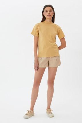 TRENDYOLMİLLA Camel Dik Yaka Örme T-Shirt TWOAW20TS0096 1