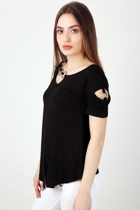EMJEY Kadın Siyah Yaka Ve Kol Halka Detaylı T-Shirt She020B010087 2