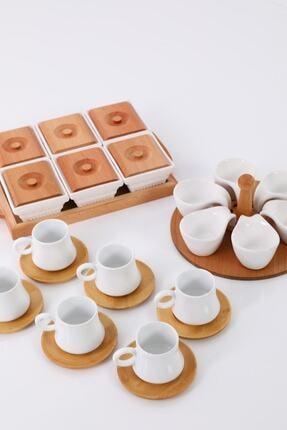 EvimSepette Evim Sepette Ahşaplı Lüks Sunum Seti Kahvaltılık+Çerezlik+Kahve Fincanı 4