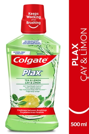 Colgate Plax Çay ve Limon Plağa Karşı Alkolsüz Ağız Bakım Suyu 500 ml 0