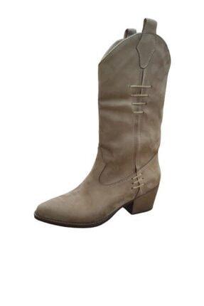 Kadın Kahverengi Süet Kovboy Çizme Deri Bot resmi