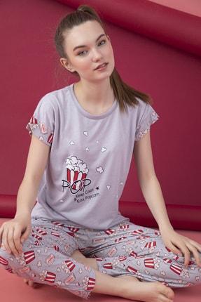 تصویر از Kadın Mor Desenli Viskon Pijama Takım