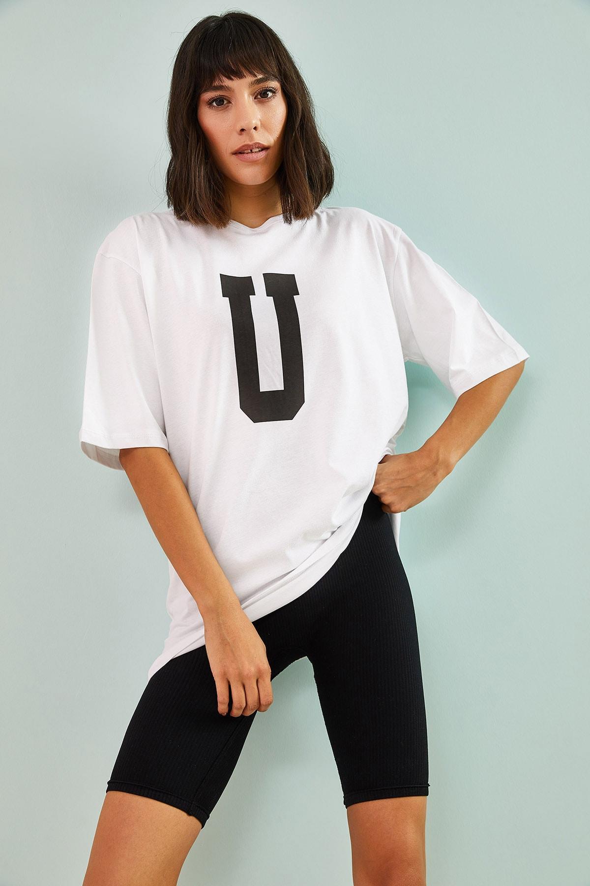 Kadın U Baskılı Oversize Tshirt