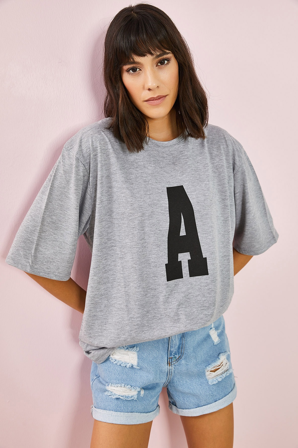 Kadın Gri A Baskılı Oversize Tshirt