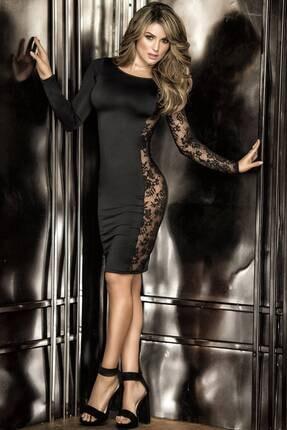 Kadın Siyah Dantel Dekolteli Elbise 18764106