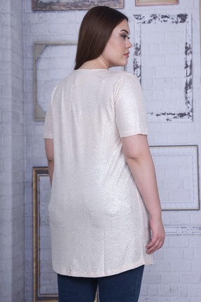 Şans Kadın Bej Sim Detaylı Bluz 65N25956 3