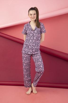 تصویر از Kadın Pembe  Pamuklu Düğmeli Pijama Takımı