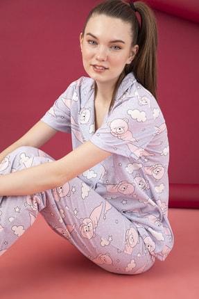 تصویر از Kadın Düğmeli Pijama Takım