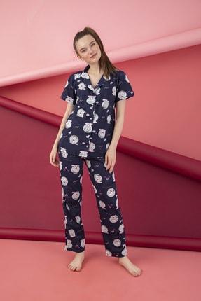 تصویر از Kadın Lacivert Pamuklu Düğmeli Pijama Takım