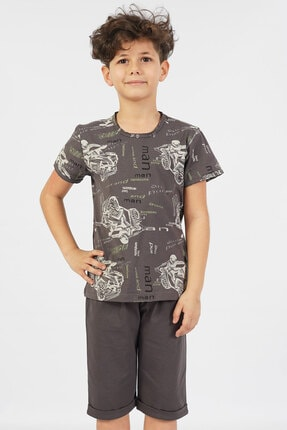تصویر از Erkek Çocuk P.suprem Kısa Kol 9-16 Yaş Beden Füme Kapri Takım