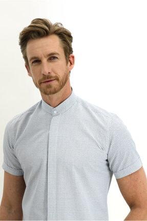 Kiğılı Kısa Kol Slim Fit Desenli Hakim Yaka Gömlek 0