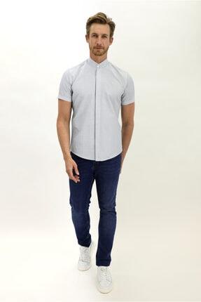 Kiğılı Kısa Kol Slim Fit Desenli Hakim Yaka Gömlek 2
