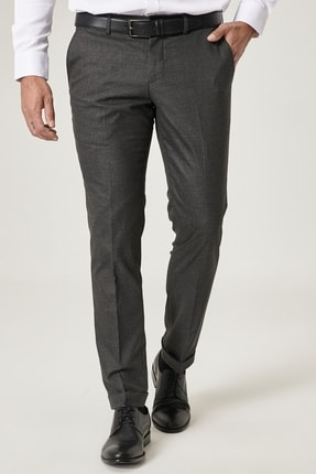 Picture of Erkek Antrasit Slim Fit Dar Kesim Beli Lastikli Yan Cep Desenli Klasik Pantolon