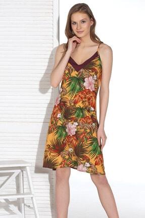 Kadın Kahverengi Çiçekli Gecelik 12994 resmi