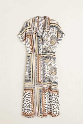 Picture of Kırık Beyaz Desenli Gömlek Elbise