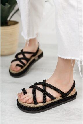 Moda Değirmeni Kadın Siyah Parmak Arası Sandalet 1