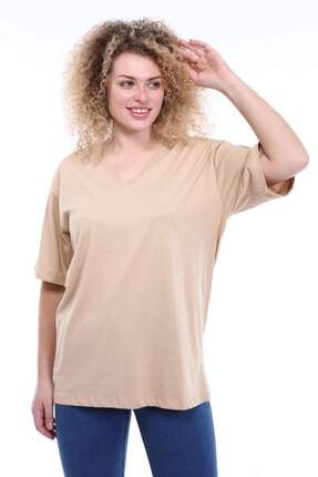Picture of Kadın Krem Büyük Beden V Yaka T-shirt Tc01