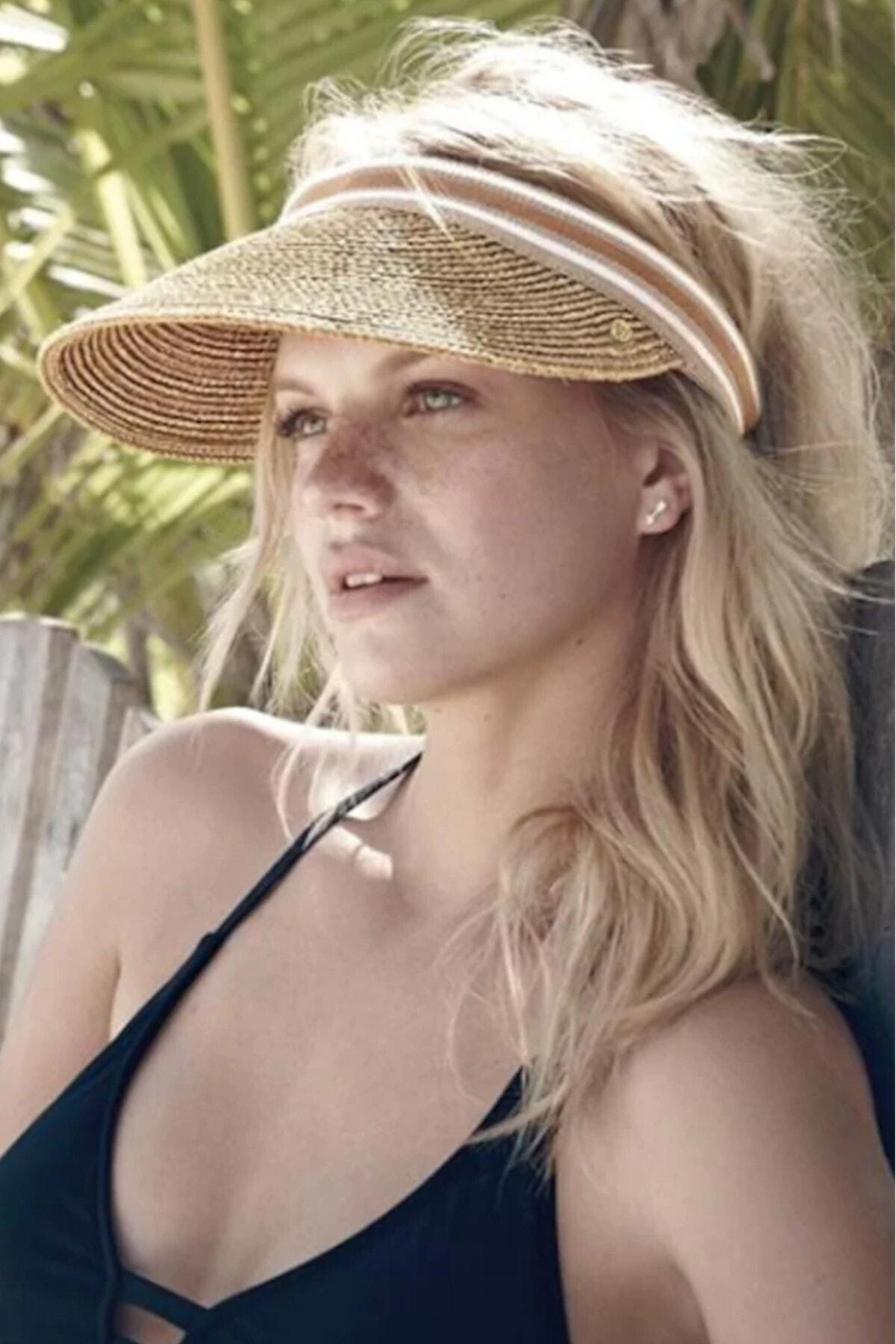 Ayarlanabilir Kadın Hasır Şapka Güneş Koruyucu Plaj Şapkası Vizör