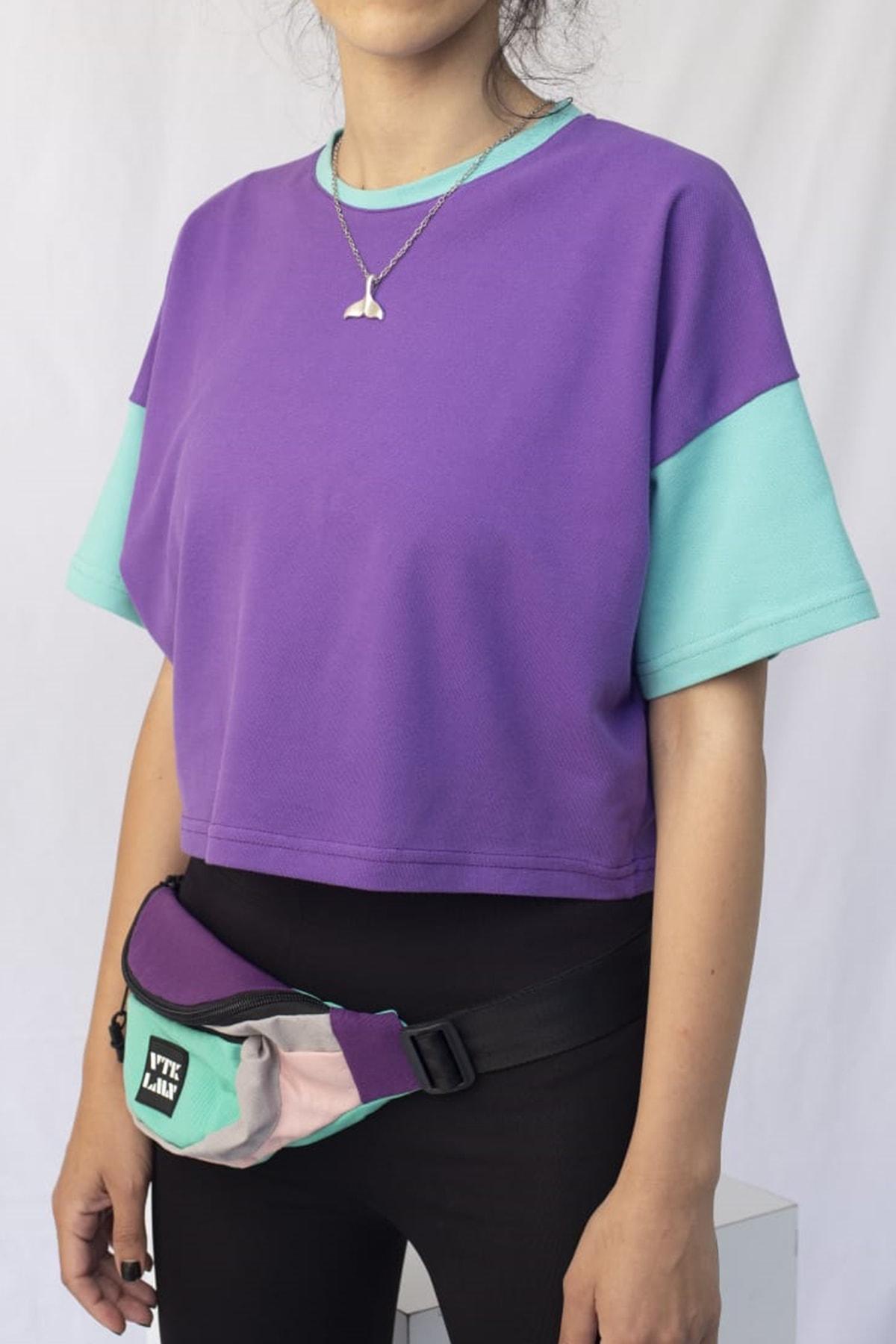 Kadın Mor Mint Renkli Crop Tshirt