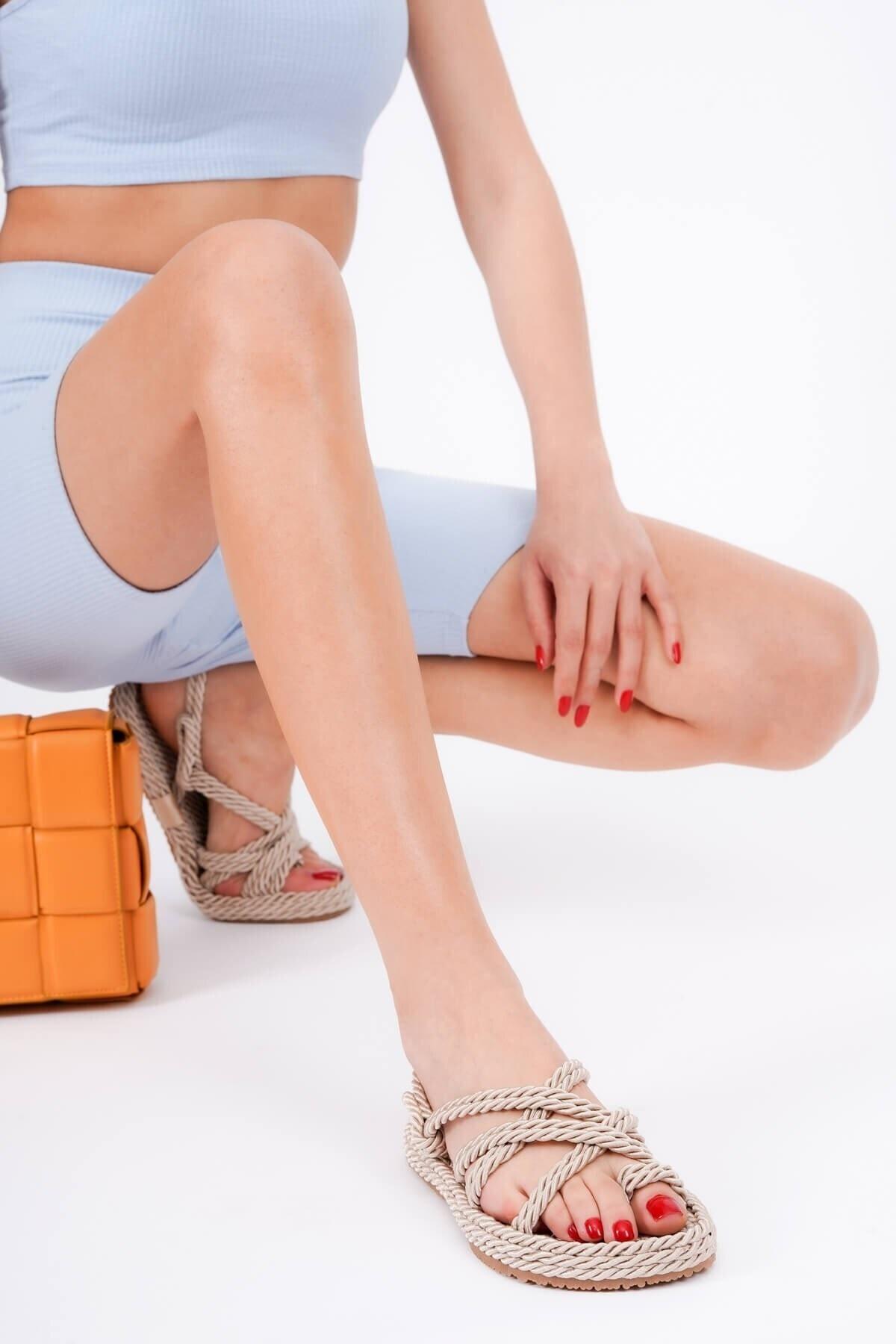 Rope Bej Halat Sargılı Yazlık Sandalet