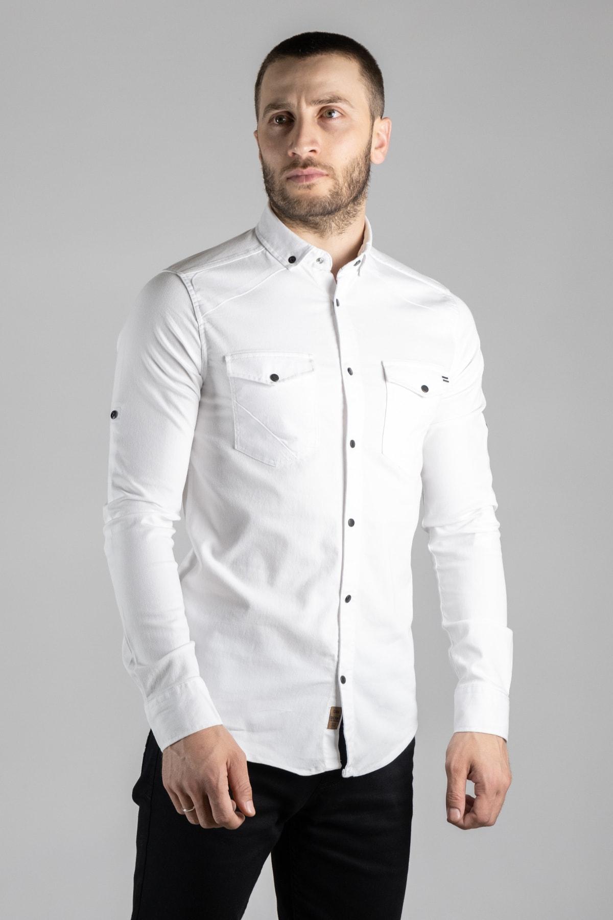 Erkek Beyaz Kot Gömlek