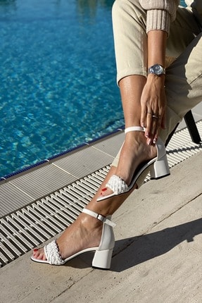 İnan Ayakkabı Tek Bant Ince Örgü Bilekli Topuklu Ayakkabı 1