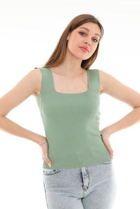 PERA TREND Kadın Yeşil Kalın Askılı Kare Yaka Crop Bluz 1