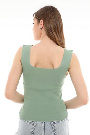 PERA TREND Kadın Yeşil Kalın Askılı Kare Yaka Crop Bluz 2