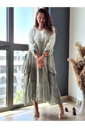 Trendbysena Cepli Uzun Italyan Keten Elbise 2262 ELBİSE