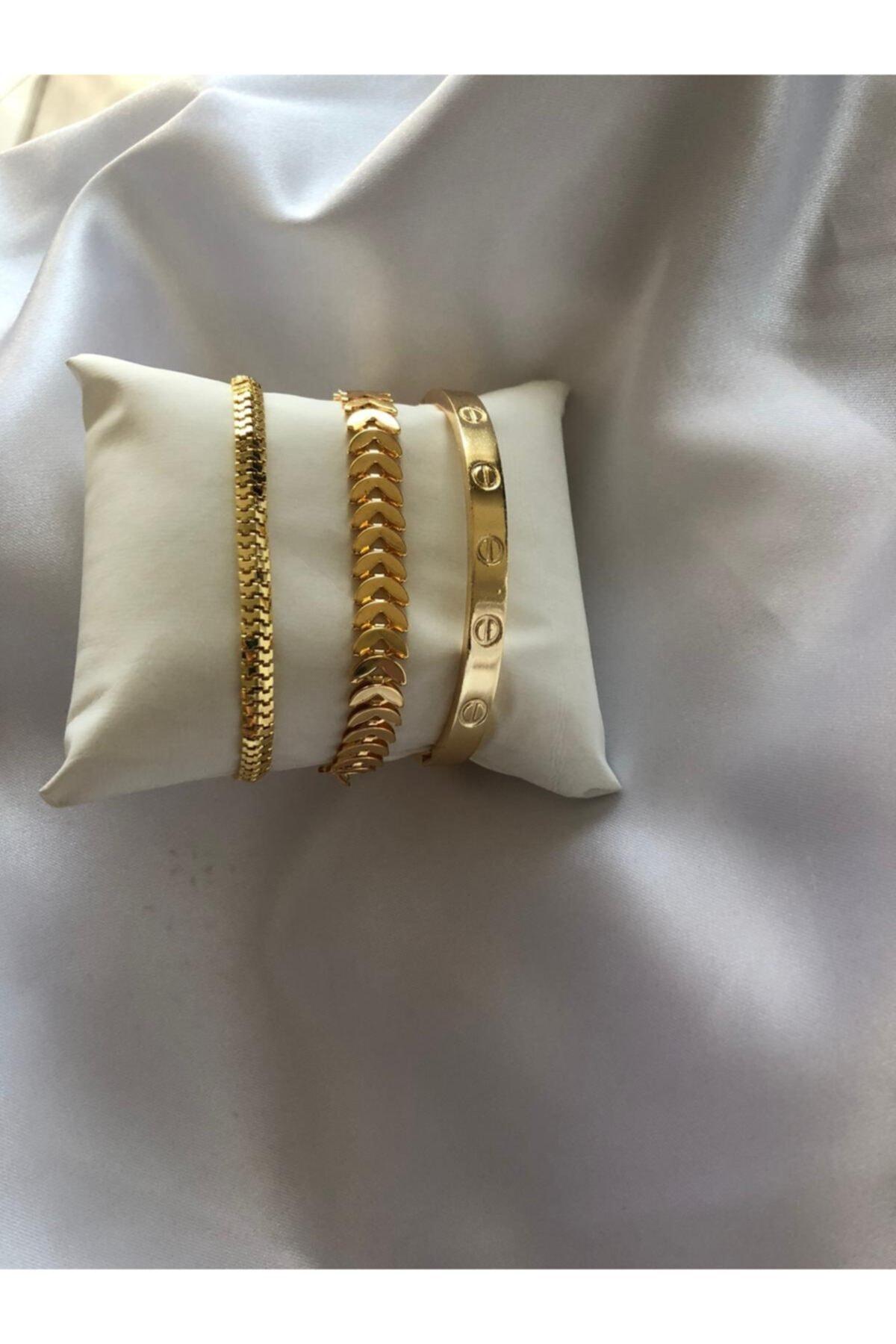 Kadın Gold Renk Çelik Kombin Bileklik