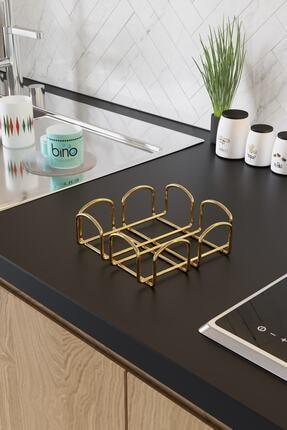 Bino Servis Sunum Seti Havluluk Peçetelik Nihale Gold Altın Dolu Parlak Paslanmaz Çelik 3 Lü Mutfak 3